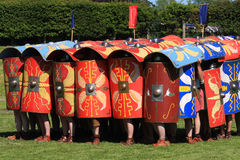 Testudo. The tortoise or testudo formation created with shields and adopted as a means of defence by roman troops stock image