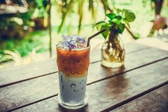 Testy ice butterfly pea espresso coffee.  Stock Images