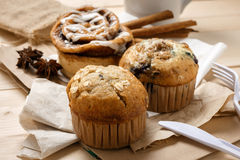 Testy Muffins and Cinnamon roll Stock Photography