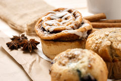 Testy Muffins and Cinnamon roll Stock Image