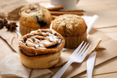 Testy Muffins and Cinnamon roll Stock Photos