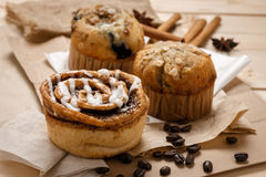 Testy Muffins and Cinnamon roll. From the bakery Royalty Free Stock Image
