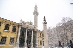 Tesvikiye mosque under snow, Sisli district of Istanbul, Turkey Stock Photos