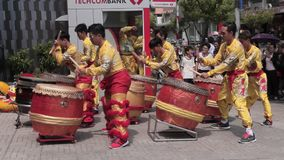 Tet celebration in Ho Chi Minh. Celebration of lunar New Year on the street of Ho Chi Minh in District 1 stock video