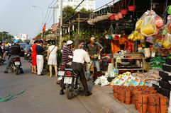 Tet op Ho Chi Minh-stad, bloemmarkt Royalty-vrije Stock Afbeeldingen
