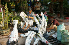 Tet op Ho Chi Minh-stad, bloemmarkt Stock Foto's