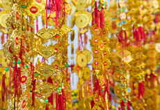 Tet (Vietnam New Year) gold red decorations Stock Photography