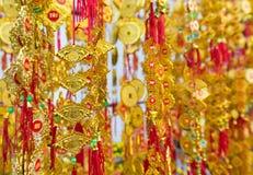 Tet (Wietnam nowy rok) złociste czerwone dekoracje Fotografia Stock