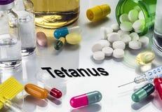 Tetano, medicine come concetto del trattamento ordinario, immagine concettuale Immagine Stock Libera da Diritti