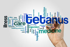 Tetanus word cloud. Concept on grey background royalty free stock photos