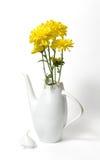 Tetera blanca de cerámica checa con las flores amarillas en el backgrou blanco Fotos de archivo