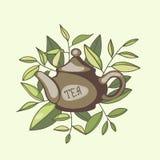 Tetera china con las hojas de té verdes ilustración del vector