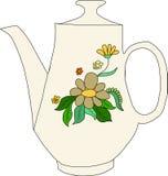 Tetera con el fondo de las flores Fotografía de archivo libre de regalías