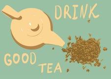 Tetera con té en fondo verde Fotografía de archivo