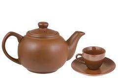 Tetera de cerámica, taza de cerámica Imagen de archivo