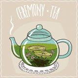Tetera de cristal con té con el jengibre y la cal stock de ilustración