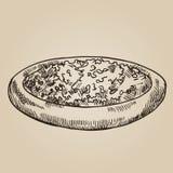 Tetera del grabado Placa de madera con té fragante Ilustración de la vendimia Hojas de Grinded de una bebida verde hermosa en un  Fotos de archivo libres de regalías