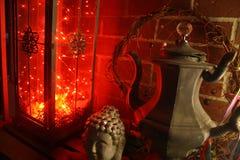 Tetera del vintage de las luces LED de la linterna n de la decoración de Boho Imágenes de archivo libres de regalías