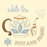 Tetera dibujada mano con el té blanco Fotografía de archivo libre de regalías