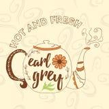 Tetera dibujada mano con té del gris del conde Fotos de archivo libres de regalías