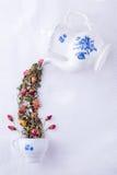 Tetera mágica con té de las rosas imagen de archivo libre de regalías