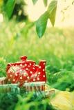 Tetera roja con los libros y las tazas Imagen de archivo libre de regalías
