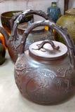 Tetera roja de la cerámica Fotografía de archivo