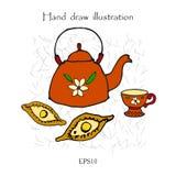 Tetera, taza y empanada, juego de té, ejemplo de color de dibujo de la mano Fotos de archivo libres de regalías
