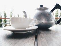 Tetera y taza Fotografía de archivo