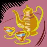 Tetera y taza de té ilustración del vector