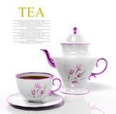 Tetera y taza de té de la porcelana Fotos de archivo libres de regalías