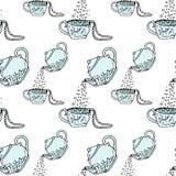 Tetera y taza, mano del ejemplo dibujada Collar y gotas Modelo inconsútil Fotografía de archivo libre de regalías