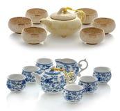 Tetera y tazas de cerámica para el té, juego de té Foto de archivo libre de regalías