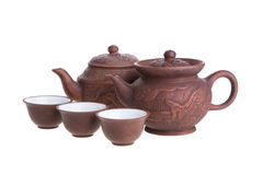 Tetera y tazas de té chinas Imagenes de archivo