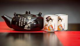 Tetera y tazas de té chinas Foto de archivo