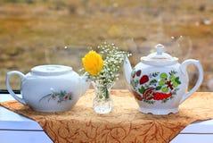 Teteras y flores blancas Foto de archivo