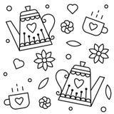 teteras y tazas Página que colorea Ilustración del vector Imágenes de archivo libres de regalías