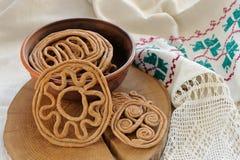Teterki, Russian rye cookies for spring equinox selebration. Horizontal royalty free stock photos