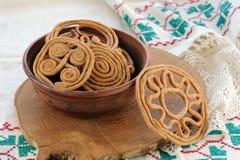 Teterki, Russian rye cookies for spring equinox selebration. Horizontal royalty free stock image