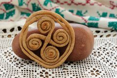 Teterki, Russian rye cookies for spring equinox selebration. Horizontal stock images