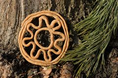 Teterki, Russian rye cookies for spring equinox selebration in n. Ature horizontal stock photography