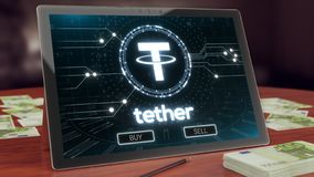 Tether cryptocurrency logo on the pc tablet display. 3D illustration royalty free stock photography