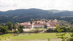 Tetin village with hills on the background in Cesky kras Royalty Free Stock Image