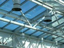 Teto de vidro e de aço com luzes Fotos de Stock Royalty Free