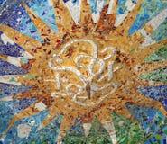 Teto decorado em Parc Guell na Espanha de Barcelona Foto de Stock Royalty Free