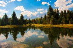 Teton反射在盛大Teton国家公园 库存图片