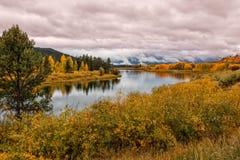 Teton反射在秋天 库存照片