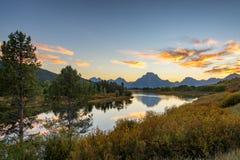 Teton范围日落风景 库存图片