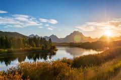 Teton范围日落 库存图片