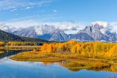 Teton风景反射在秋天 免版税库存照片